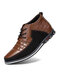 Men Round Toe Lace Up Business Casual Leather Ankle Boots - Brown