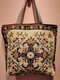 Casual Canvas Flower Print Pattern Multi-color Handbag Tote With Zipper Inner Pocket - #07