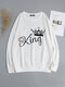 Crown Letters Print O-neck Loose Casual Sweatshirt For Women - White