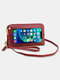 Stylish Multi-slots Textured Hardware Stitch Detail Touch Screen On The Back 7.8 Inch Detachable Phone Bag Clutch Bag - Wine Red