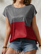 Contrast Color O-neck Short Sleeve Pocket Women Casual T-Shirt - Wine Red