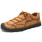 Large Size Classic Hand Stitching Soft Microfiber Leather Shoes - Brown