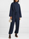 Solid Color Plain Knitted Drawstring Long Sleeve Casual Jumpsuit for Women - Blue
