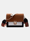 Women Hit color Frosted Casual Chains Crossbody Bag - Brown
