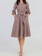 Solid Color O-neck Plus Size Casual Dress for Women - Khaki