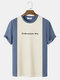 Mens Knitted Stitching Letter Embroidery Crew Neck Short Sleeve Crew Neck T-Shirt - Blue