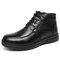 Men Warm Plush Lined Lace Up Causal Leather Ankle Boots