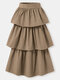 Solid Color High Waist Zip Front Casual Skirt For Women - Khaki