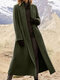 Solid Color Long Sleeve Lapel Collar Coat For Women - Green