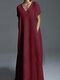 Casual Solid Color Plus Size Maxi Dress for Women - Red