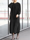 WomenSolid Color Patchwork Long Sleeve Loose Casual Dress - Black
