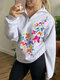 Colorful Butterfly Print Long Sleeves Lapel Color Sweatshirt For Women - White