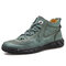 Menico Men Vintage Hand Stitching Microfiber Leather Ankle Boots - Green