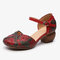 SOCOFY Retro Leather Embossed Floral Buckle Ankle Strap Block Heel D'orsay Pumps - Red