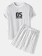 Mens Number Stripe Print Raglan Sleeve Varsity Two Pieces Outfits - White