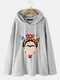 Vintage Portrait Printed Plush Long Sleeve Fluffy Hoodie For Women - Gray
