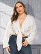 Solid Color Knotted Backless Plus Size Sexy Short Blouse - White