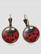 Vintage Seven-stars Ladybug Pattern Drop-shape Alloy Glass Sheet Earrings - #02