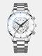 Décoré Pointer Men Business Watch Calendrier Acier Inoxydable Cuir Quartz Watch - #14