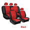 9Pcs/Set PU Leather Car Seat Detachable Covers Front Bucket Full Set Protector - Red