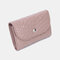 Women Genuine Leather Lychee Pattern Coin Purse Card Case Multifunctional Wallet - Pink