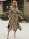 Leopard Print Lapel Long Sleeve Plus Size Dress with Belt - Grey