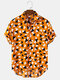 Mens All Over Triangle Geometry Pattern Short Sleeve Shirt - Yellow
