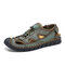 Men Outdoor Closed Toe Hand Stitching Microfiber Leather Mesh Sandals - Green