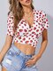 Strawberry Print V-neck Short Sleeve Knotted Women Crop Top - White