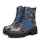 SOCOFY Retro Round Toe Embossing Floral Embroidery Cloth Leather Splicing Wearable Short Boots - Dark Blue