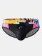 メンズセクシープリントパッチワークドローストリングクイックドライスイムウェアブリーフ - ブラック