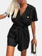 Solid Color Knotted Button Pocket Lapel Collar Short Sleeve Casual Romper - Black