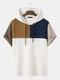 T-shirts à capuche ample à manches courtes et patchwork de blocs de couleurs en tricot gaufré pour hommes - marron
