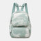 Women Oxford Anti theft Large Capacity Tie Dye Backpack Travel Bag - Green