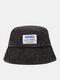 Unisex Denim Letters Korean Labeling Sun Protection Bucket Hat - Black