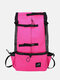 1 PC Canvas Multi-carry Mesh Breathable Safe And Comfortable Light Outdoor Travel Backpack Dog Pet Multifunction Carrier Backpack - Rose Red