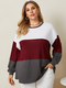 Patchwork O-neck Long Sleeve Plus Size Casual T-shirt for Women - Wine Red