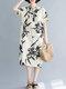 Vintage Leaves Print Plus Size Pocket Midi Dress - Beige