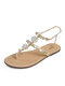 Large Size Women Summer Holiday Casual Rhinestone Golden Chain Thong Sandals - Gold