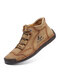 Salkin Men Hand Stitching Microfiber Leather Lace Up Ankle Boots - Khaki
