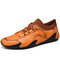 Men Cowhide Leather Lace-up Round Toe Soft Casual Driving Shoes - Brown