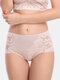 Women Mid Waisted Lace Full Hip Panties - Nude