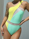Women Contrast Color Hollow Out One Piece Beach Swimsuits With Pad - Yellow