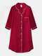 Plus Size Women Ice Silk Chest Pocket 3/4 Sleeve Shirt Cozy Nightdress With Contrast Binding - Red