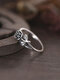 Vintage Brief Three-dimensional Rose Alloy Rings - Silver
