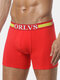 Sport Anti Grinding Leg Printing U Convex Pouch Long Boxers for Men - Red