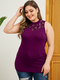Lace Patchwork O-neck Plus Size Tank Top for Women - Claret