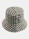 Women & Men Plaid Pattern Retro Port Style Windproof Soft All-match Travel Bucket Hat - #11