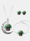 3 Pcs Printed Men Women Jewelry Set Wearing Garland Hollow Half Moon Necklace Bracelet Earring - #07