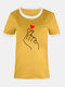 Color Contrast Figure Heart Print Casual Plus Size T-shirt - Yellow